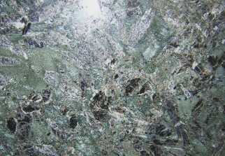 GREEN RAYS flamed: granite green dark, stone middle grain grey