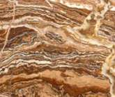 TRAVERTINO ONICIATO - Iran: travertine polished, brown dark.