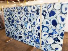 Supply polished slabs 0.8 cm in natural semi precious stone AGATA BLUE GIANT AG-BLG18. Detail image pictures