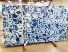 Supply polished slabs 2 cm in natural semi precious stone AGATA BLUE AG-BL18. Detail image pictures