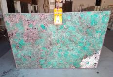 Supply polished slabs 0.8 cm in natural semi precious stone AMAZZONITE Z0206. Detail image pictures