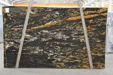 Supply polished slabs 1.2 cm in natural granite BLACK VULCON 2480. Detail image pictures