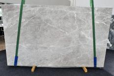 Supply honed slabs 0.8 cm in natural marble BRILLANT GREY 1410. Detail image pictures