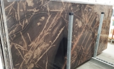Supply polished slabs 0.8 cm in natural limestone BRONZO VENATO 1529M. Detail image pictures