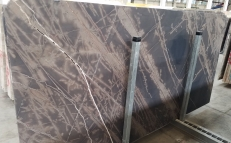 Supply brushed slabs 0.8 cm in natural limestone bronzo venato 1529M. Detail image pictures