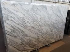 Supply polished slabs 0.8 cm in natural marble CALACATTA ARNI Z0182. Detail image pictures