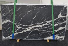 Supply honed slabs 0.8 cm in natural marble CALACATTA BLACK 1459. Detail image pictures