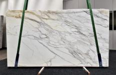 Supply polished slabs 0.8 cm in natural marble CALACATTA BORGHINI GL 1095. Detail image pictures