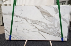 Supply polished slabs 0.8 cm in natural marble CALACATTA BORGHINI 1209. Detail image pictures