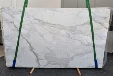 Supply polished slabs 0.8 cm in natural marble CALACATTA CARRARA 1435. Detail image pictures