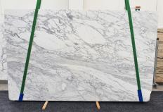 Supply polished slabs 1.2 cm in natural marble CALACATTA CARRARA 1421. Detail image pictures