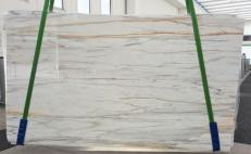 Supply polished slabs 0.8 cm in natural marble CALACATTA CREMO V 1120. Detail image pictures