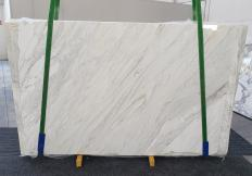 Supply polished slabs 0.8 cm in natural marble CALACATTA CREMO 1263. Detail image pictures