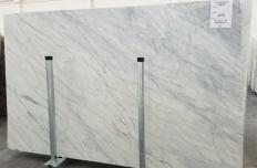 Supply polished slabs 0.8 cm in natural marble CALACATTA CREMO 1275. Detail image pictures