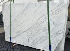 Supply polished slabs 0.8 cm in natural marble CALACATTA CREMO 1403. Detail image pictures