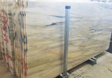 Supply polished slabs 0.8 cm in natural marble CALACATTA CREMO AA T0191. Detail image pictures