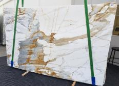 Supply polished slabs 0.8 cm in natural marble CALACATTA MACCHIAVECCHIA 1428. Detail image pictures