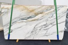 Supply polished slabs 0.8 cm in natural marble CALACATTA MAJESTIC 1413. Detail image pictures