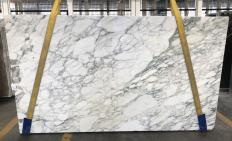 Supply polished slabs 0.8 cm in natural marble CALACATTA MONET 1541M. Detail image pictures