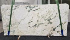 Supply polished slabs 0.8 cm in natural marble CALACATTA MONET 1067. Detail image pictures