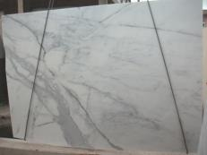 Supply polished slabs 1.2 cm in natural marble CALACATTA ORO E-O843. Detail image pictures