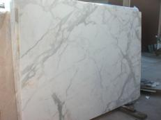 Supply polished slabs 0.8 cm in natural marble CALACATTA ORO EM_0477. Detail image pictures