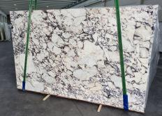 Supply polished slabs 1.2 cm in natural marble CALACATTA VIOLA 1291. Detail image pictures