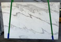 Supply honed slabs 0.8 cm in natural marble CALACATTA WAVE 1451. Detail image pictures