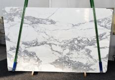Supply polished slabs 0.8 cm in natural marble CALACATTA 1301. Detail image pictures