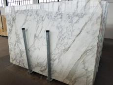Supply polished slabs 0.8 cm in natural marble CALACATTA A0256. Detail image pictures