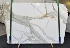 Supply polished slabs 0.8 cm in natural marble CALACATTA 1310. Detail image pictures