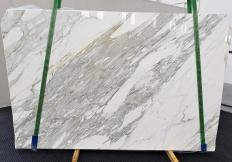 Supply polished slabs 1.2 cm in natural marble CALACATTA 1344. Detail image pictures