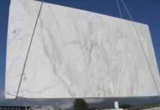 Supply polished slabs 0.8 cm in natural marble CALACATTA E_COM0807. Detail image pictures
