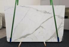 Supply honed slabs 1.2 cm in natural marble CALACATTA GL 1108. Detail image pictures