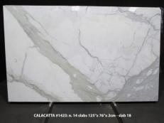 Supply polished slabs 0.8 cm in natural marble CALACATTA 1423M. Detail image pictures