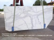 Supply honed slabs 0.8 cm in natural marble CALACATTA 2257. Detail image pictures