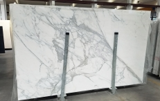 Supply polished slabs 0.8 cm in natural marble CALACATTA 1426M. Detail image pictures