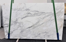 Supply polished slabs 0.8 cm in natural marble CALACATTA 1188. Detail image pictures