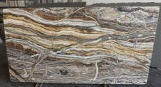 Supply polished slabs 0.8 cm in natural onyx fantasy brown onyx R682. Detail image pictures