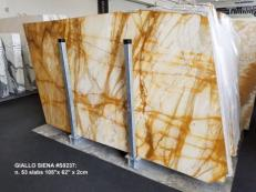 Supply polished slabs 0.8 cm in natural marble GIALLO SIENA S0237. Detail image pictures