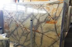 Supply polished slabs 0.8 cm in natural quartzite ISOLA BLUE AA T0264. Detail image pictures