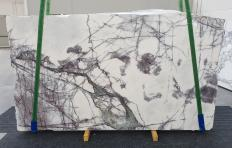 Supply polished slabs 0.8 cm in natural marble LILAC 12601. Detail image pictures