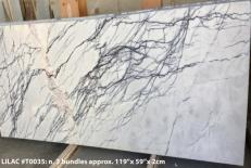 Supply honed slabs 0.8 cm in natural marble LILAC AA T0035. Detail image pictures