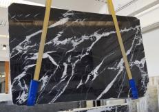 Supply polished slabs 0.8 cm in natural marble MONACO BLACK AA T0101. Detail image pictures