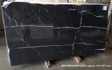 Supply polished slabs 0.8 cm in natural marble NERO MARQUINA U0251. Detail image pictures