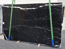 Supply polished slabs 0.8 cm in natural marble NERO MARQUINA 1378. Detail image pictures