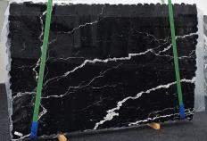 Supply polished slabs 0.8 cm in natural marble NERO MARQUINA 1394. Detail image pictures