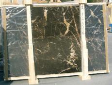 Supply polished slabs 0.8 cm in natural marble NOIR SAINT LAURENT E-14526. Detail image pictures
