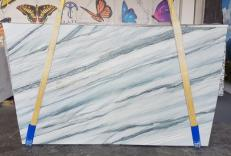 Supply polished slabs 0.8 cm in natural quartzite ONDA BLUE AA T0100. Detail image pictures