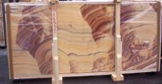 Supply polished slabs 0.8 cm in natural onyx ONICE ARCOIRIS E-14535. Detail image pictures
